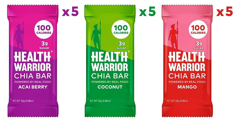 Chia bars tropical variety pack 15 bars health warrior