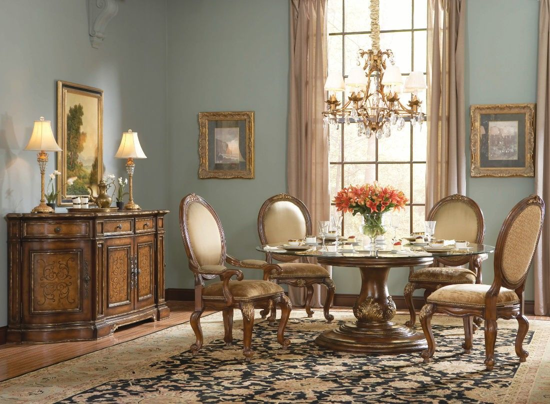 Hooker Furniture Beladora 72 Round Glass Top Table Set Formal
