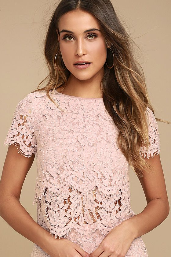 88a4fd1635904 The Heartbeats Blush Pink Lace Crop Top has earned our adoration forever  on! Eyelash lace forms this adorable crop top with a rounded neckline and  short ...