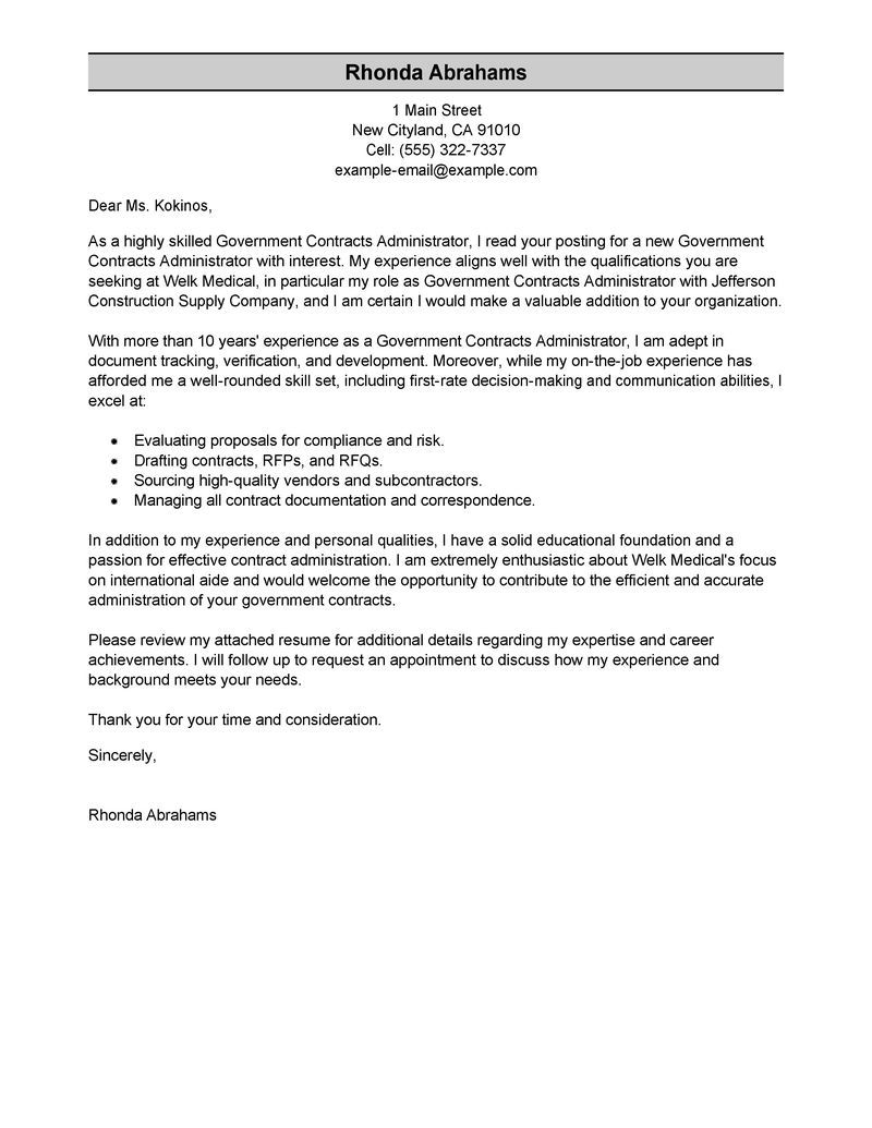 Best Government Military Cover Letter Examples Livecareer Create