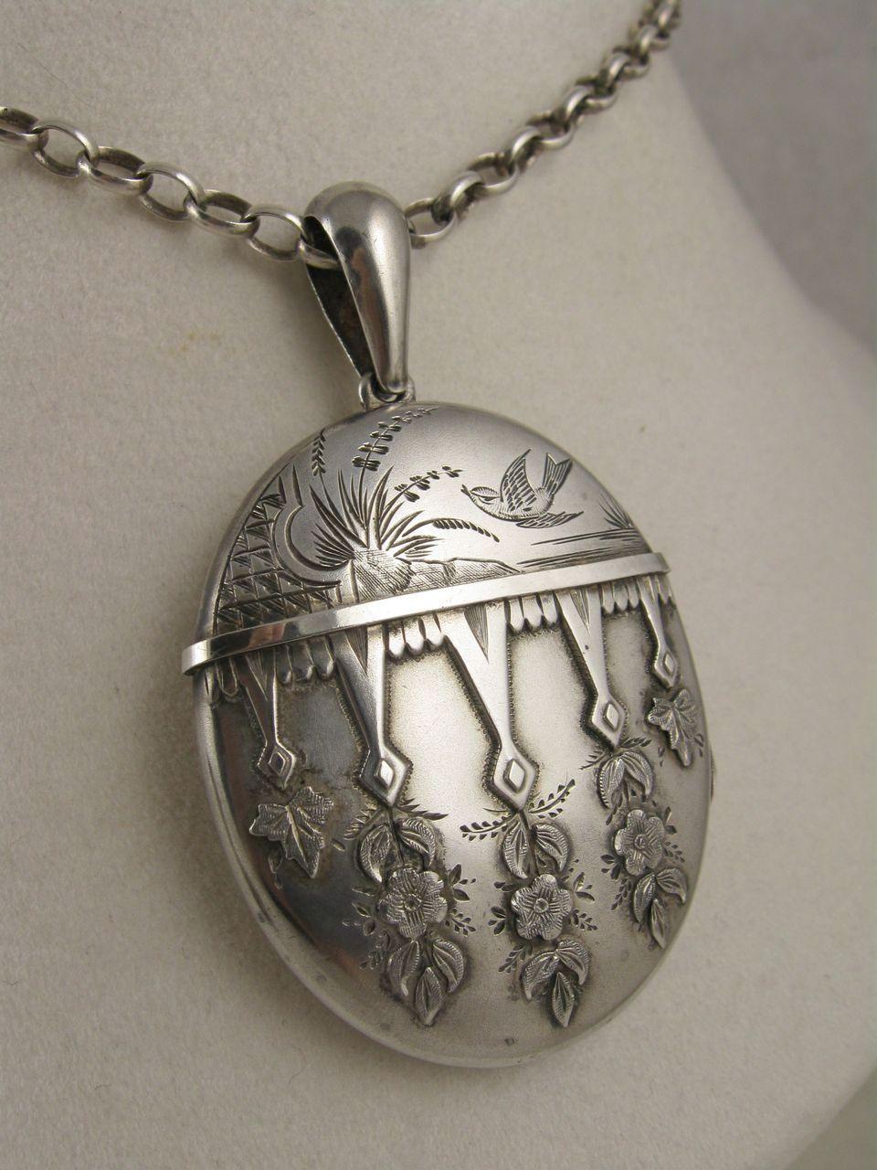 Superb Orig Antique 19thc Aesthetic Movement Silver Brooch-secret Compartment Antiques