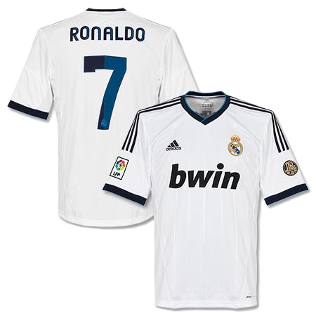 official photos 93167 33efb Cristiano Ronaldo Number 7, Real Madrid Home Jersey 2013 Kit ...