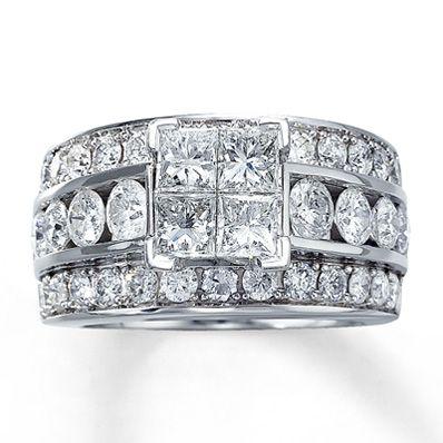 Diamond Engagement Ring 312 ct tw Diamonds 14K White Gold White