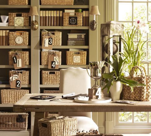 organized office with baskets.