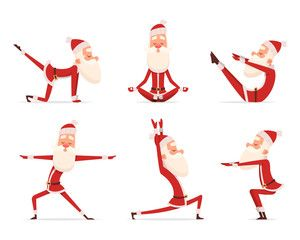 Santa yoga relax. Winter cute healthy christmas holiday santa claus outdoor doing sport yoga exercises vector characters. Claus yoga to christmas and new year illustration - Buy this stock vector and explore similar vectors at Adobe Stock