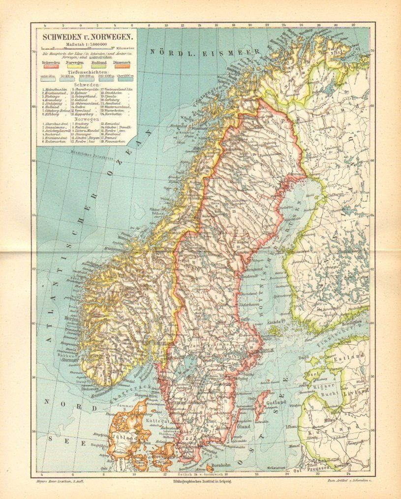 Sweden And Norway Antique Map Printed In 1897 Scandinavian Peninsula Scandinavia 122 Years Old Fine Chart By Cabinetoftreasur Poster Prints Antique Map Art