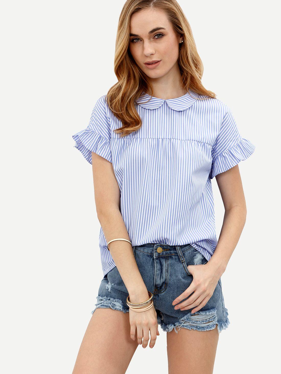 f3253c422cb0e51 Синяя полосатая блуза. Питер Пэн воротник Рубашка С Рюшами, Рукав С Рюшами,  Свободные