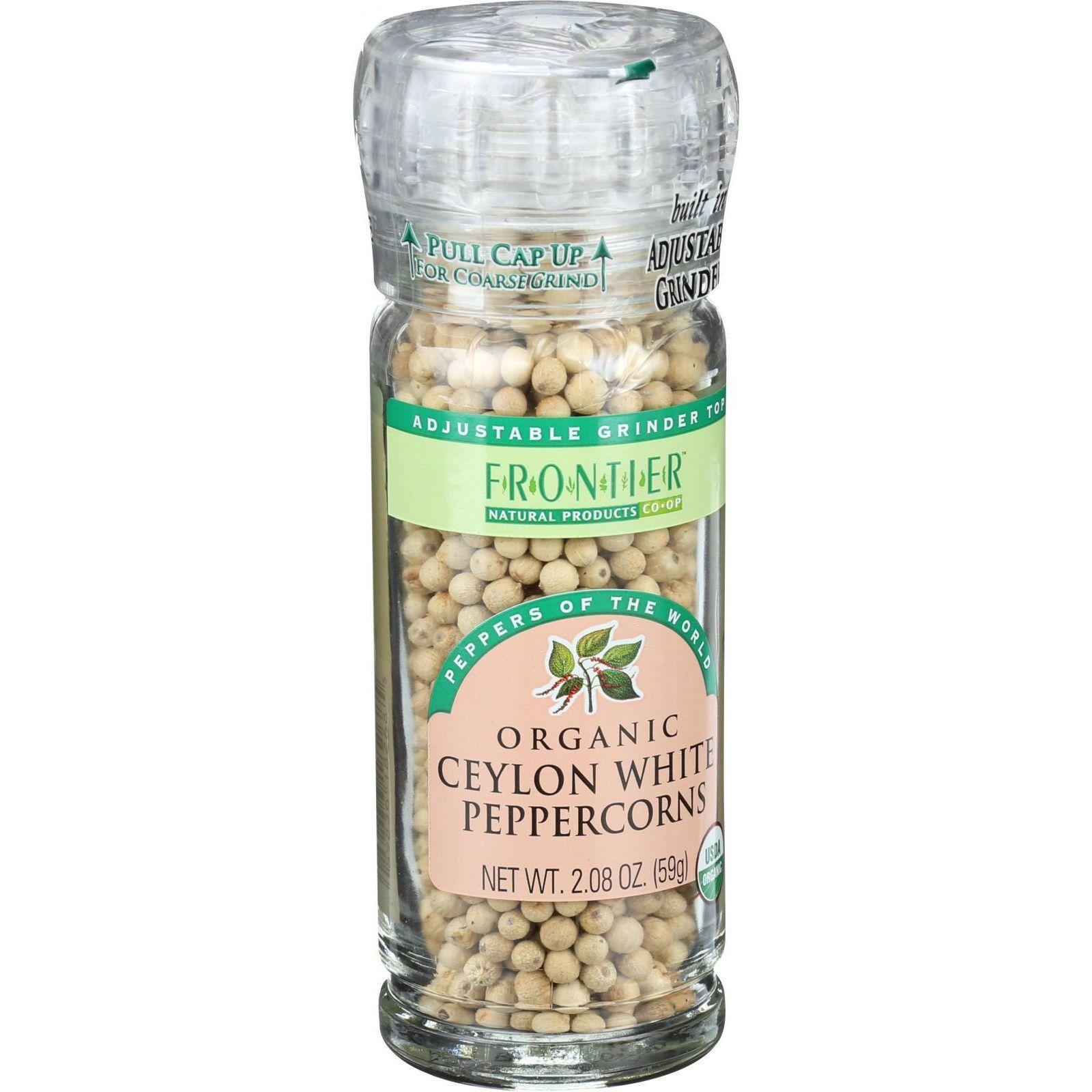 Frontier Herb Peppercorns - Organic - Whole - White - Grinder Bottle - 2.08 Oz - Case Of 6