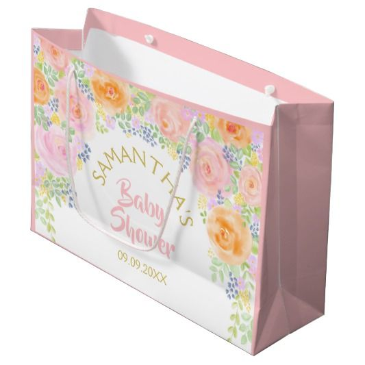 Baby Shower Pink Roses Watercolor Floral Fancy Large Gift Bag | Zazzle.com images