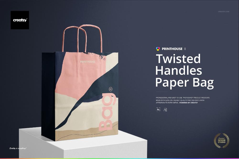 Download Twisted Handles Paper Bag Mockup Set Bag Mockup Paper Bag Box Mockup