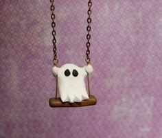 Polymer Clay Ghost Pendant - Dije fantasma de arcilla polimérica