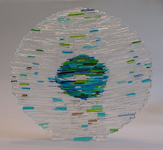Stunning Abstract Fused Glass Art Earth Bowl by indeestudios, $170.00