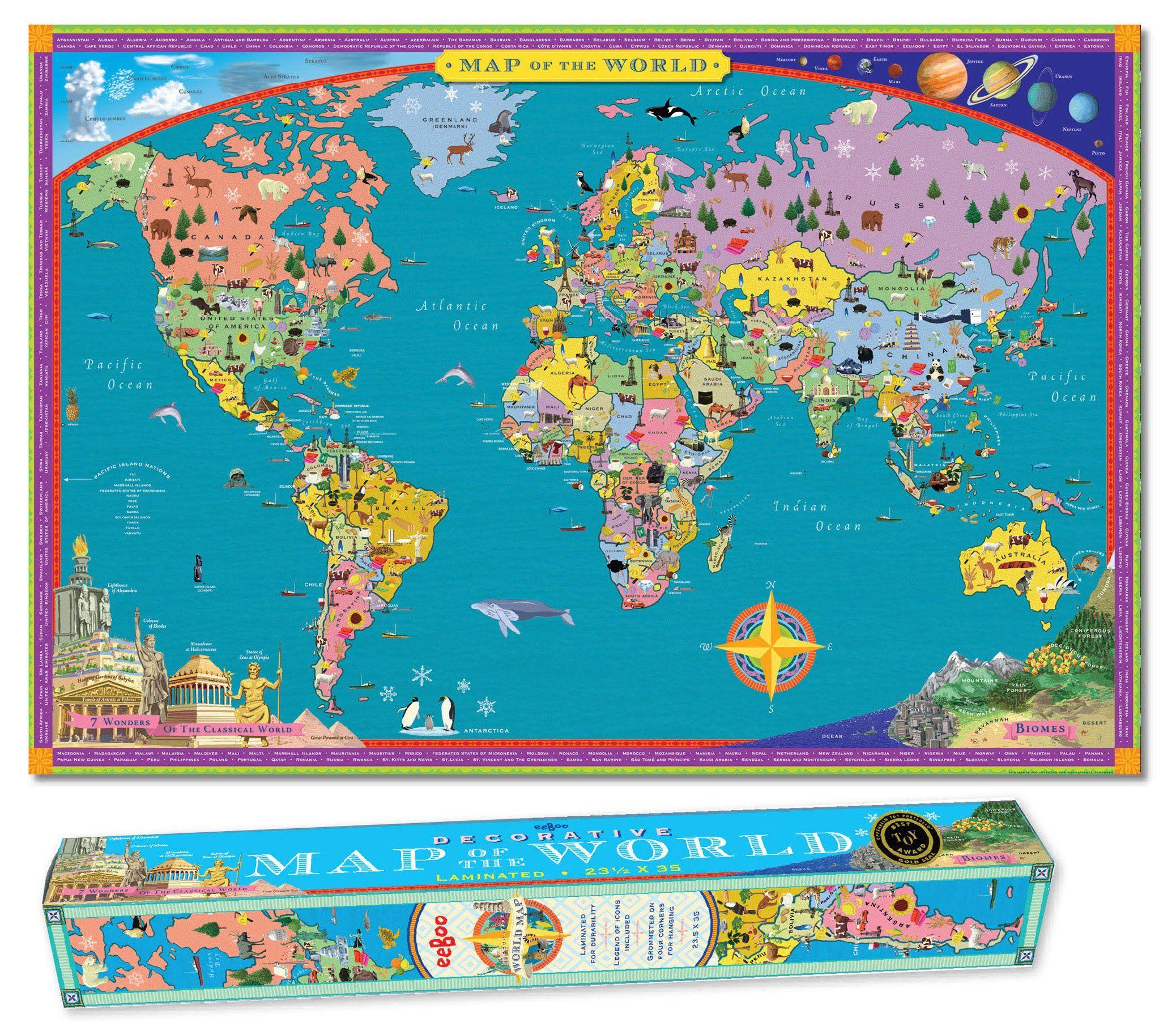 Amazoncom World MAP Kids Geography Educational Wall Hanging - World wall map kids