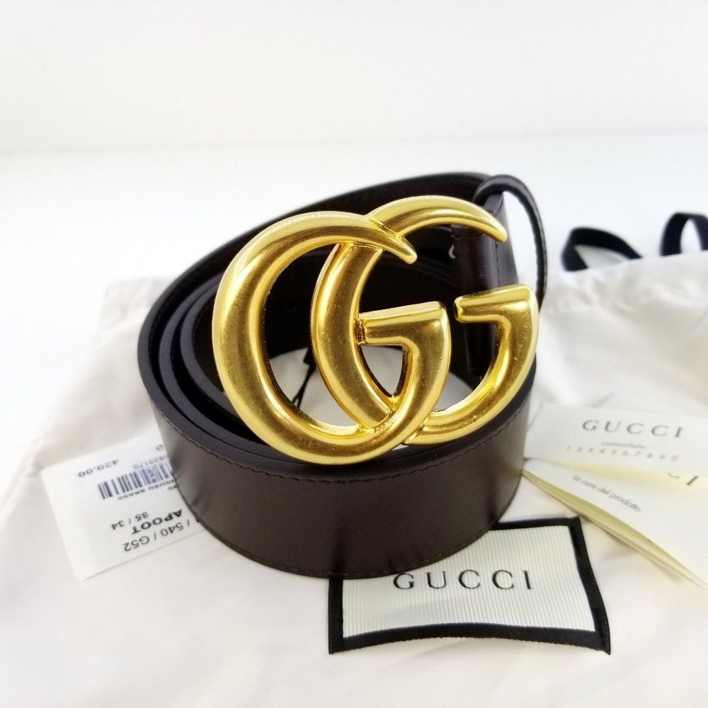 eBay  Sponsored Authentic Brown Leather Gucci Belt w Double G Buckle Gold  397660 Size 85 Nobox bb102a124f5