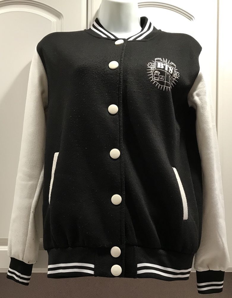 Jimin Bts Bangtan Boys Baseball Jacket Black And White Kpop Varsity Uniform M Ebay Baseball Jacket Jackets Bangtan Boys