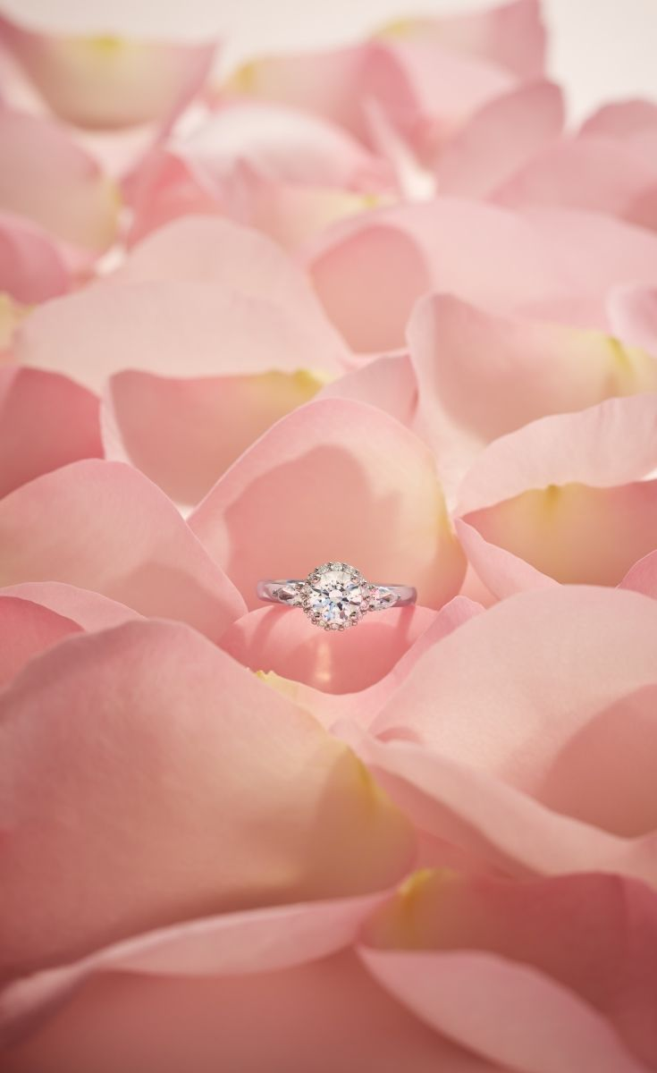 This platinum engagement ring features a halo of pave-set diamonds ...