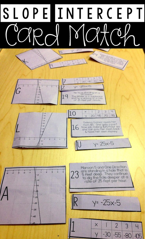 linear equation card match (slope intercept form) | pinterest