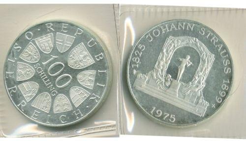 1975 Austria 100 Schilling Coin Johann Strauss European Coins