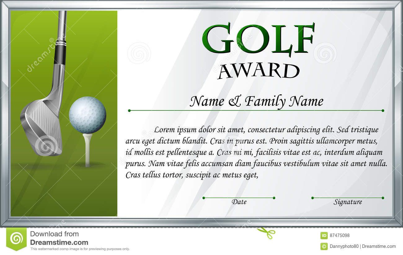 Certificate Template For Golf Award Stock Vector Intended For Golf Gift Certificat In 2020 Certificate Templates Gift Certificate Template Awards Certificates Template