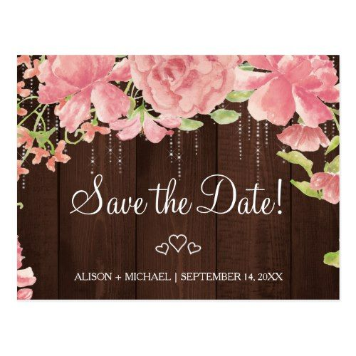 Floral chic rustic pink peonies wedding save date announcement postcard | Zazzle.com
