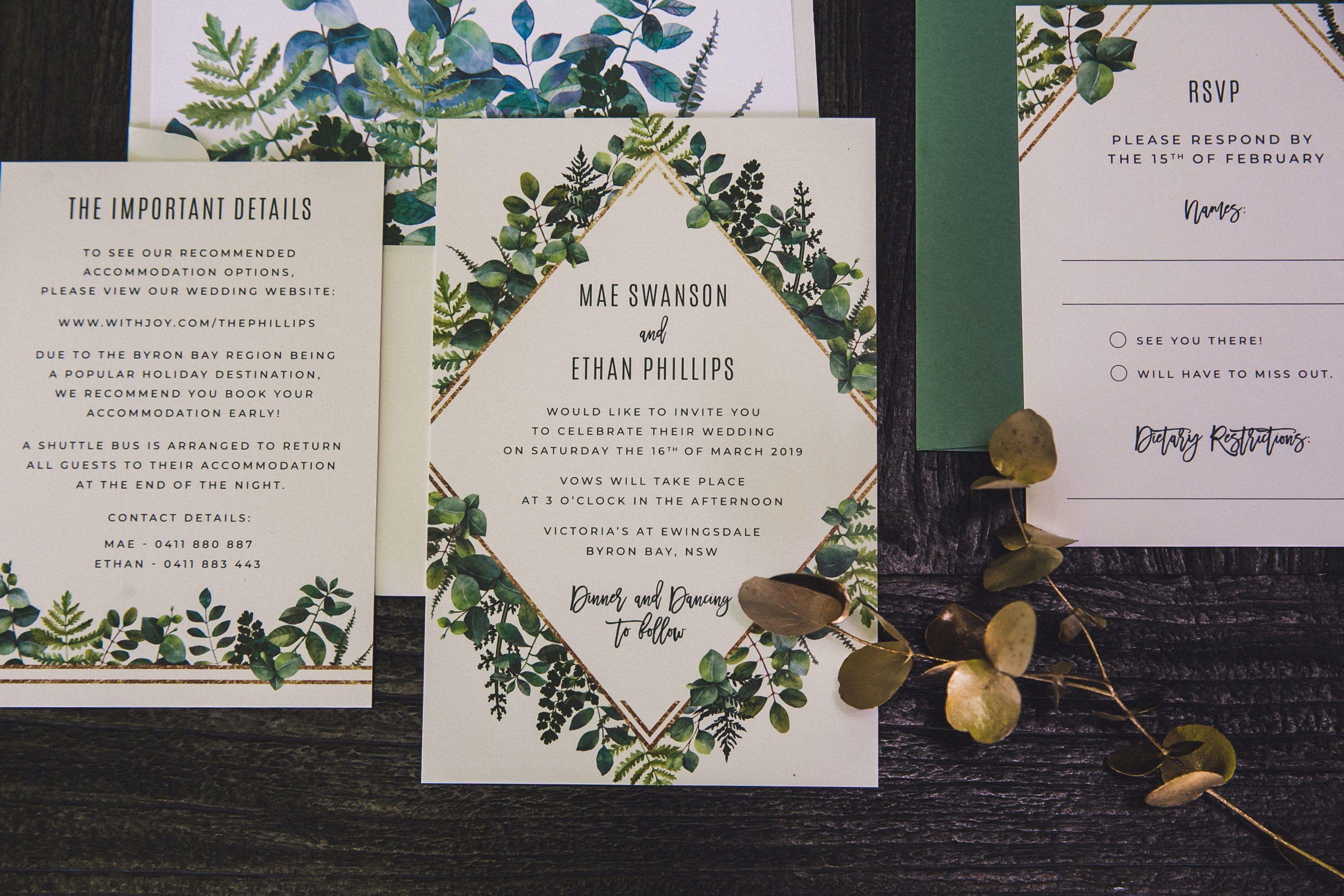 Custom Geometric Greenery Wedding Invitations Ficus And Fig Design Is An Austr Wedding Invitations Australia Custom Wedding Invitations Wedding Themes Outdoor