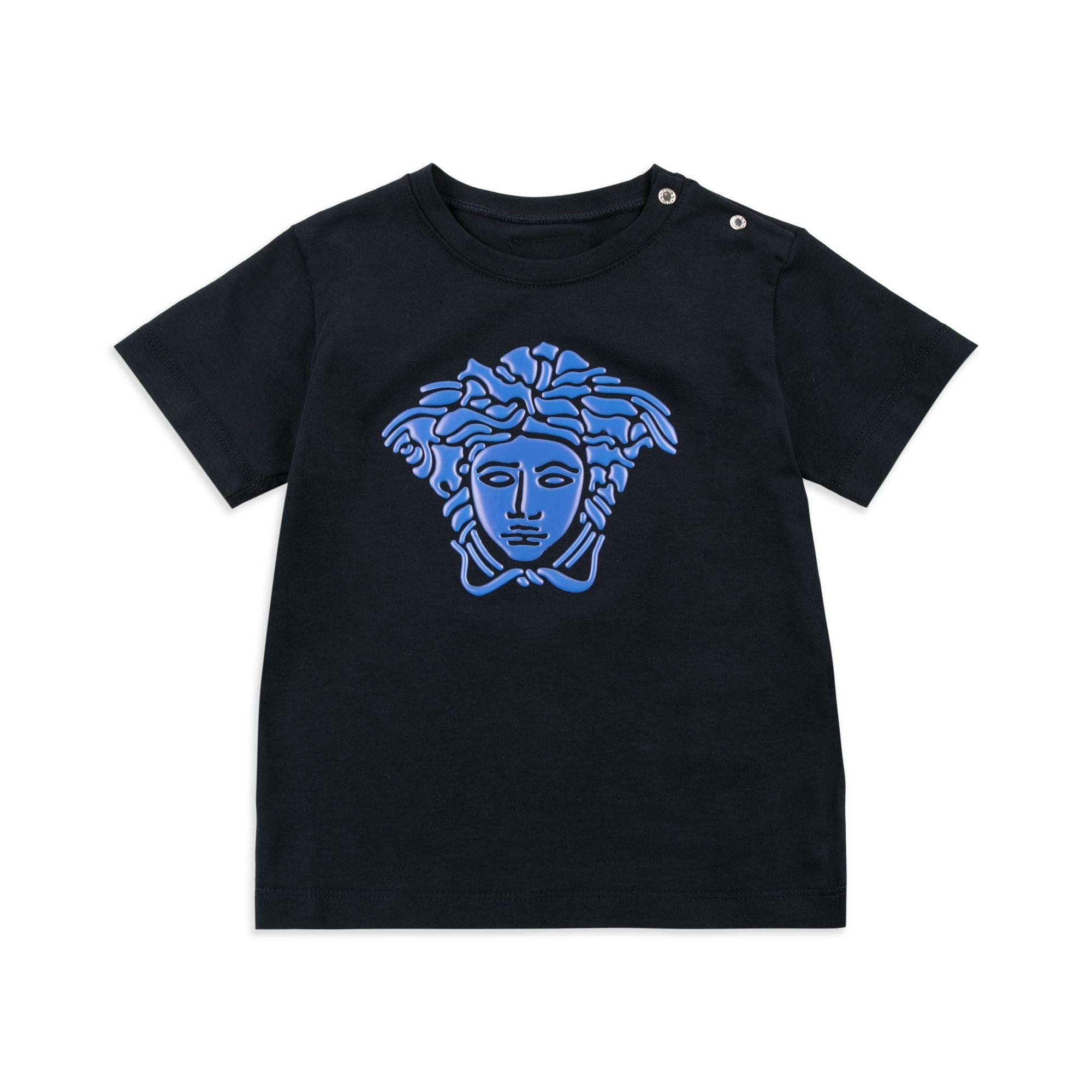 84f4f84a YOUNG VERSACE Baby Boys Iridescent Medusa Head T-Shirt - Navy Baby short  sleeve t-shirt • Soft stretchy cotton • Round neckline • Shoulder popper  fastening ...