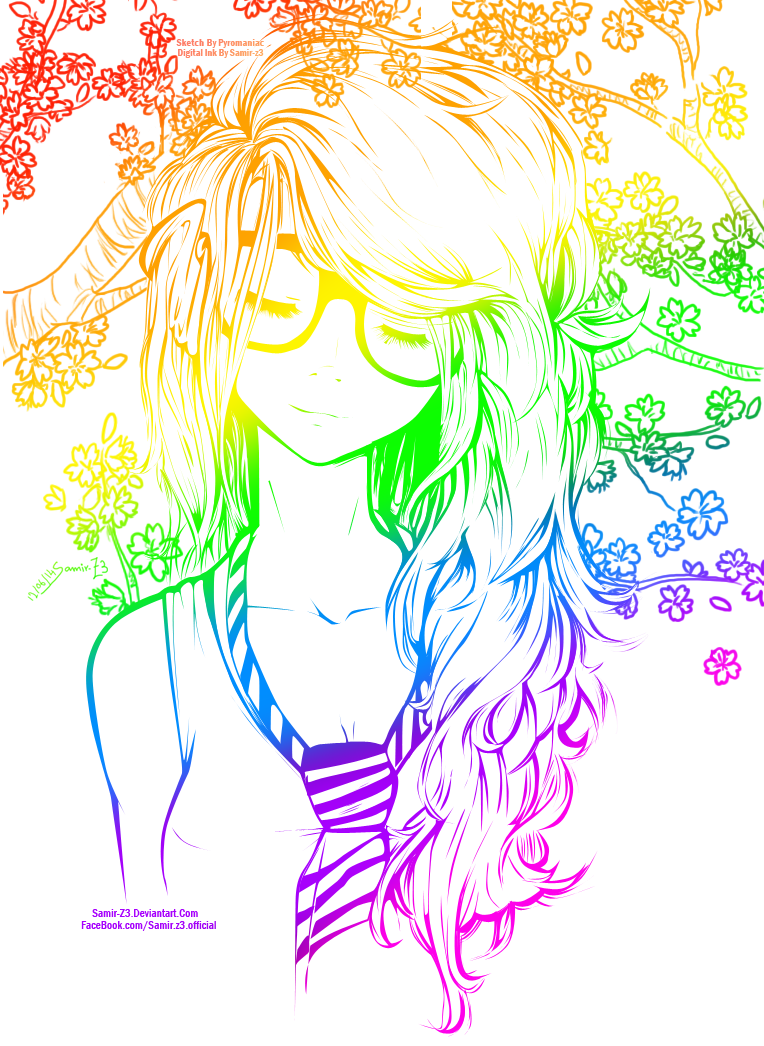 Rainbow Cute Girl //Line Art Colored// by NeonArianna on