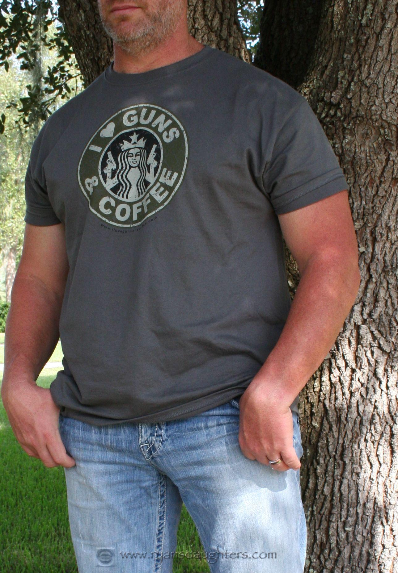Men's Vintage I Love Guns & Coffee shirt @ www.ryansdaughters.com