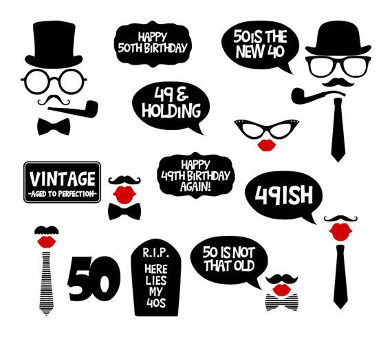 50th Birthday Party Printable Photo Booth By BCreativeDesignArts 790