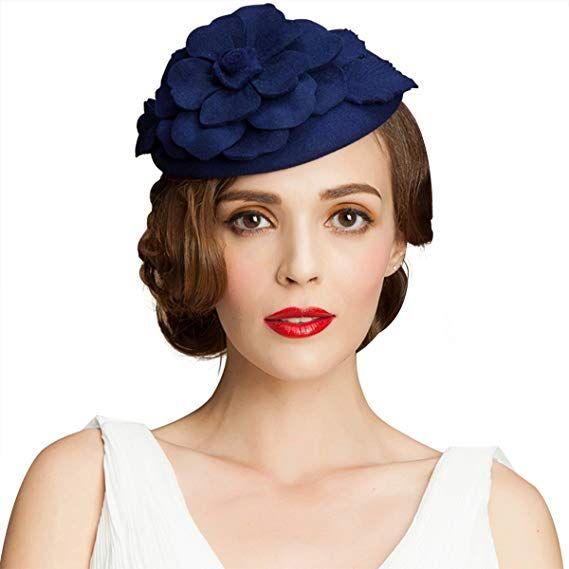 43874dc4ba664 1950s Women s Hat Styles   History Lawliet Flower Womens Dress Fascinator  Wool Pillbox Hat Party Wedding A083  22.99 AT vintagedancer.com