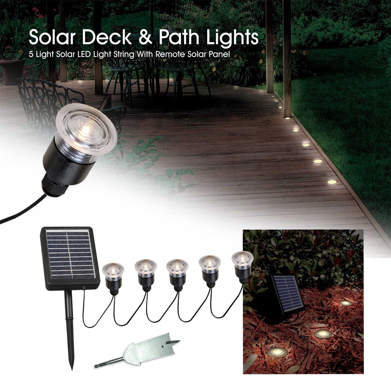 Home Seriously Solar 5 Light LED Outdoor Accent Light in Black
