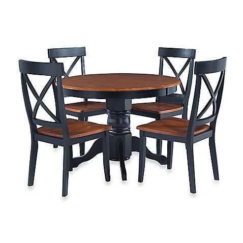 Home Styles Solid Wood 5-Piece Pedestal Table Dining Set my new