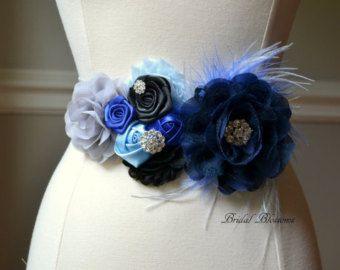 BEST SELLER  CHARLIE Gray Navy Blue Flower Maternity Sash