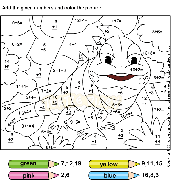 Color Addition Worksheets Free Printables For Several Grades Best Coloring First Grade Col Math Coloring Worksheets Addition Coloring Worksheet Math Coloring