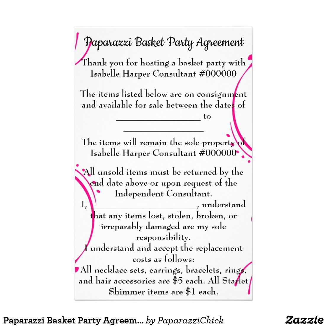 Paparazzi basket party agreement for mini binder flyer mini binder paparazzi basket party agreement for mini binder platinumwayz