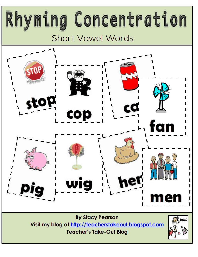 rhyming consentration.pdf School rhymes, Rhyming