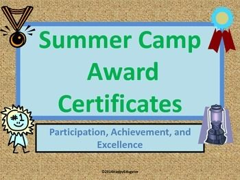 summer camp award certificates editable educational tools for