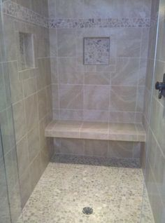 Bench Open Underneath For More Visual E Shower Stall With Tiles Set Straight Bali Cloud Pebbles On Floor And As Decorative Border