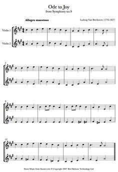 Beethoven Ode To Joy Sheet Music For Violin Duet With Images