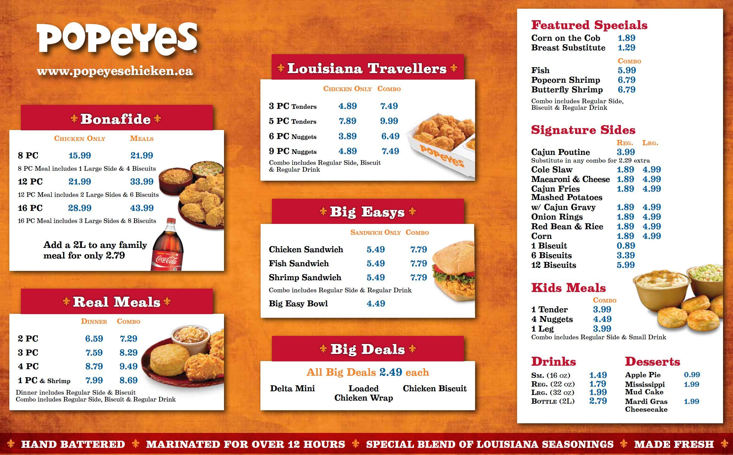 Popeyes Take Out Menu