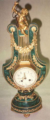 Clock Figural Lyre elaborate timepiece