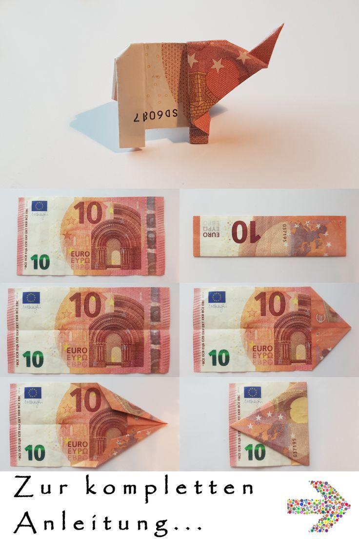Elefant aus einem Geldschein falten - Tutorial - Anleitung #origamianleitungen