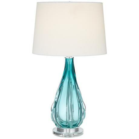 Claudette Turquoise Glass Table Lamp 4g322 Lamps Plus Blue