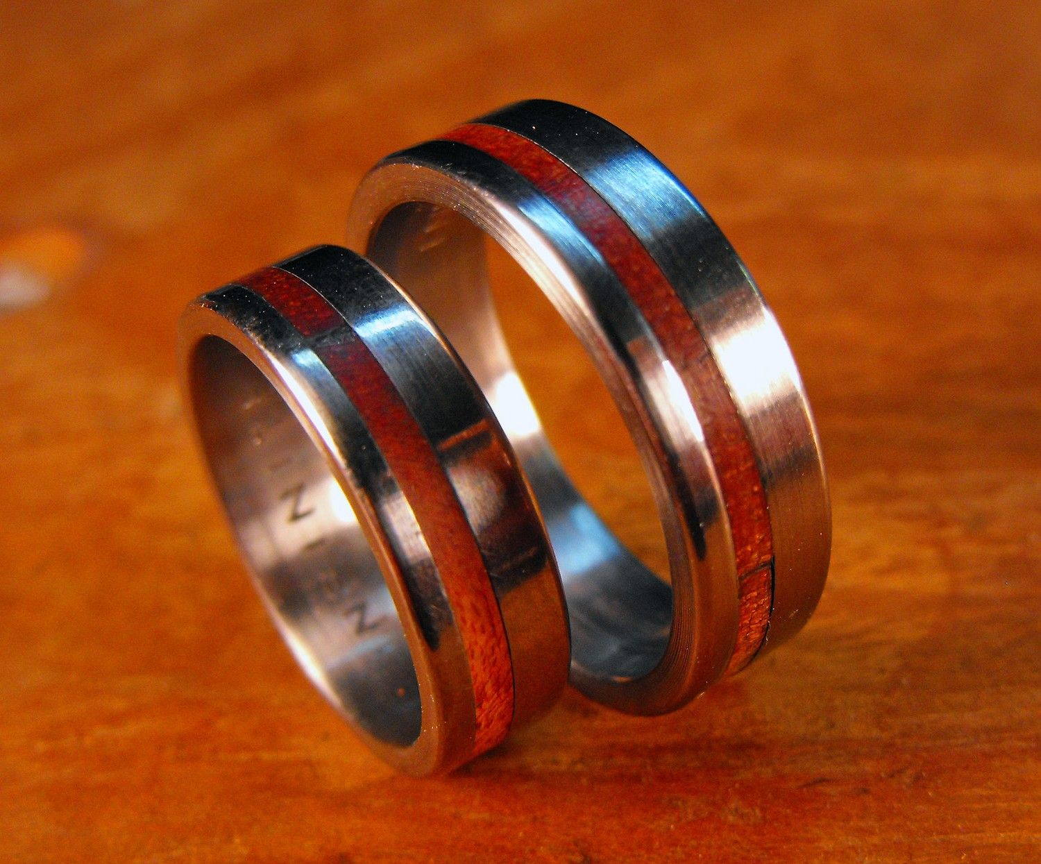 Titanium and Wood Inlay Bands