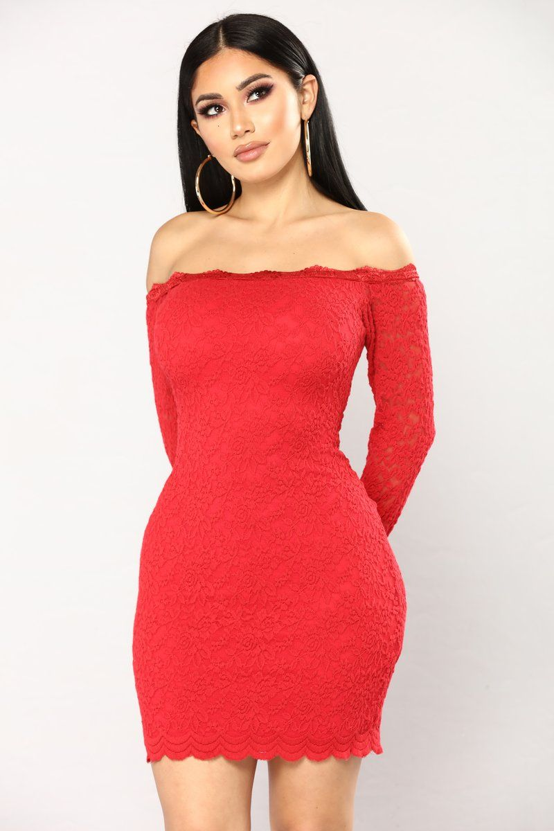 Off Shoulder Lace Bodycon Dress Red Lace bodycon dress