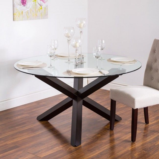 Glass Wood Dining Table Round ksp kona 'round' glass dining table (walnut) | round glass