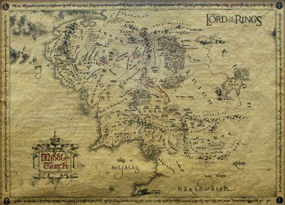the lord of the rings vintage look parchment print movie poster map of middle earth size 26 niftywarehousecom niftywarehouse nerd geek
