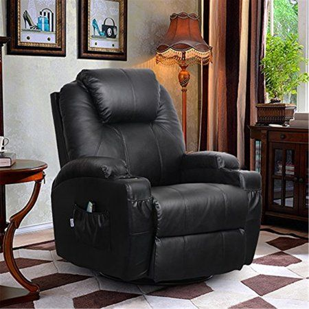 heated chair cover for recliner oversized folding swivel electric massage full body ergonomic massager universal leather black