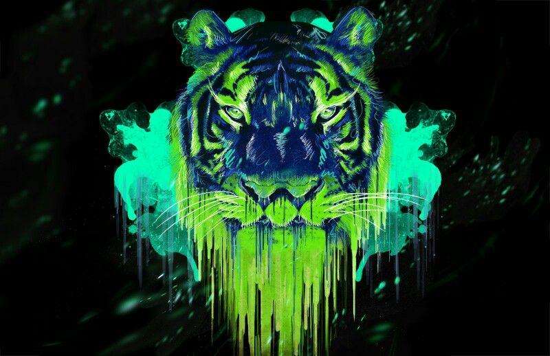 Toxic Green Tiger Color Of Life Art Inspiration Art