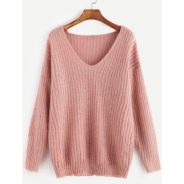 Pink Ribbed Knit V Neck Drop Shoulder Sweater ($19) ❤ liked on ...